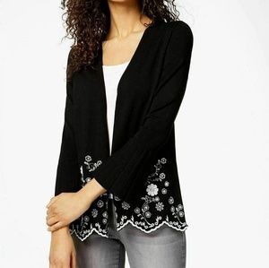 Charter Club Bell Sleeve Embroidered Sweater